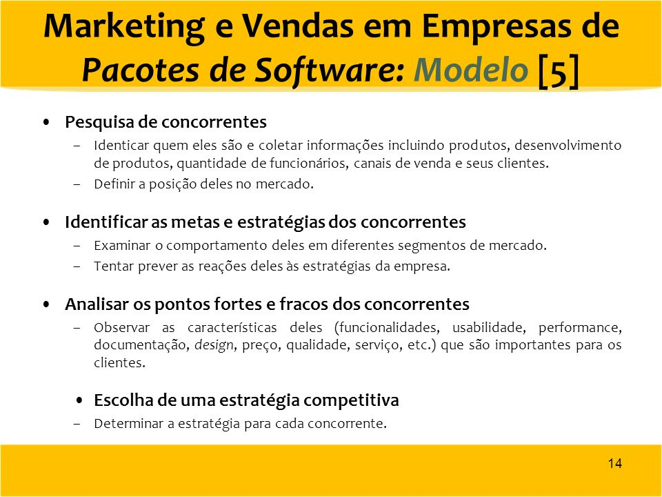 Marketing e Vendas em Empresas de Pacotes de Software: Modelo [5]